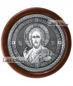 Господь Вседержитель - круглая серебряная икона артикул 11197