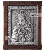 Лука Крымский икона серебряная в деревянной рамке артикул 11199