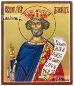 Писаная икона святого царя Давида на золотом фоне артикул 6221