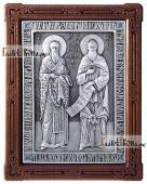 Святые Кирилл и Мефодий серебряная икона артикул 11204