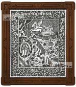 Святой Илья Пророк икона серебряная подарочная артикул 11208