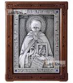 Савва Сторожевский преподобный икона из серебра в деревянной рамке артикул 11211