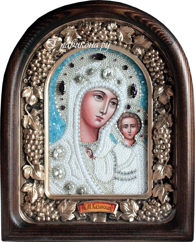 Вышивка белой иконы белым бисером