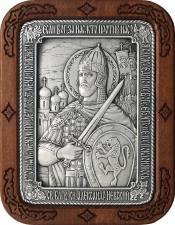 Александр Невский, икона из серебра в рамке из дерева, артикул 11226
