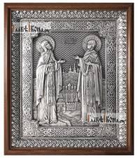 Петр и Феврония, серебряная икона в деревянном киоте артикул 11222