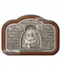 Серебряная автоикону с Покровом Пресвятой Богородицы и молитвой, артикул 11224