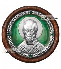 Икона-медальон в машину с образом Николая Чудотворца, артикул 13223 - цвет зеленый