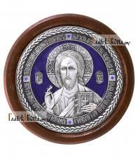 Господь Вседержитель - круглая серебряная икона, с эмалью, артикул 11197