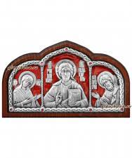 """Тройник в машину """"Деисус"""" (серебро. сразы), 10х6 см, красная эмаль"""