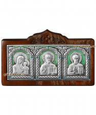 Серебряный тройник для машины на панель (малый), артикул 13045 - зеленая эмаль