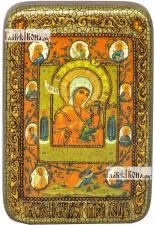 Тихвинская Хлебенная (Запечная) Божия Матерь, икона подарочная в футляре, 10х15 см