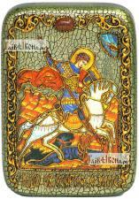 Георгий Победоносец (Чудо о змии), икона подарочная в футляре, 10х15 см