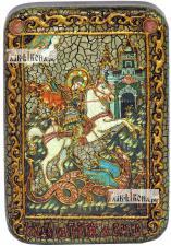 Чудо святого Георгия о змии, икона подарочная в футляре, 10х15 см
