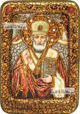 Николай Чудотворец (в митре), икона подарочная в футляре, 10х15 см