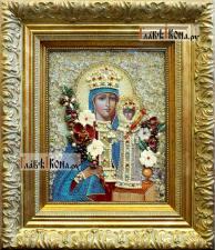 """Божия Матерь """"Неувядаемый Цвет"""", вышитая икона с камнями, артикул 71901"""