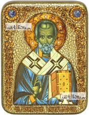 Николай Чудотворец (старинный стиль), икона подарочная на дубовой доске, 15х20 см