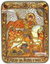 Георгий Победоносец (Чудо о змии), икона подарочная на дубовой доске, 15х20 см