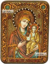 Смоленская Божия Матерь, икона подарочная на дубовой доске, 15х20 см