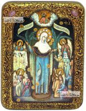 Всех Скорбящих Радость Божия Матерь, икона подарочная на дубовой доске, 15х20 см