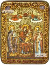 Домостроительница (Экономисса) Божия Матерь, икона подарочная на дубовой доске, 15х20 см