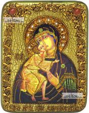 Феодоровская Божия Матерь, икона подарочная на дубовой доске, 15х20 см