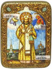 Тихон Задонский, икона подарочная на дубовой доске, 15х20 см