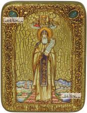 Никита Столпник, икона подарочная на дубовой доске, 15х20 см
