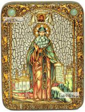 Максим Грек преподобный (ростовой), икона подарочная на дубовой доске, 15х20 см