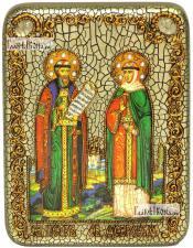 Петр и Феврония (на голубом фоне), икона подарочная на дубовой доске, 15х20 см