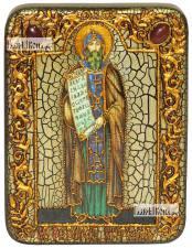 Кирилл Равноапостольный, икона подарочная на дубовой доске, 15х20 см