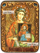 Ангел Хранитель (с образом Господа), икона подарочная на дубовой доске, 15х20 см