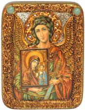 Ангел Хранитель (с образом Богородицы), икона подарочная на дубовой доске, 15х20 см