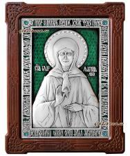 Блаженная Матрона Московская, серебряная икона со стразами и эмалью, артикул 13146