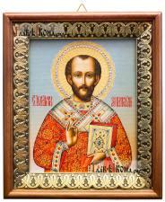 Иоанн Златоуст, икона на холсте в киоте-рамке