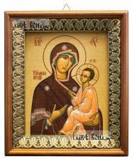 Тихвинская Божия Матерь, икона на холсте в киоте-рамке