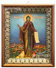 Антоний Печерский, икона на холсте в киоте-рамке