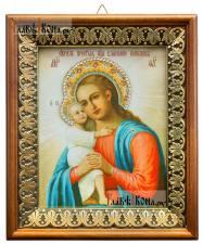 Взыскание погибших Божия Матерь, икона на холсте в киоте-рамке