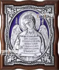 Серебряная икона (с эмалью) Ангела Хранителя с молитвой, артикул 13194