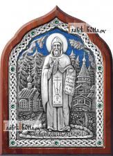 Серфим Вырицкий, икона серебряная с ювелирной эмалью