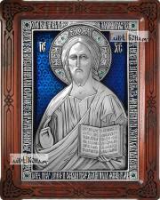 Серебряная икона Господа Вседержителя, оформленная эмалью, артикул 13185