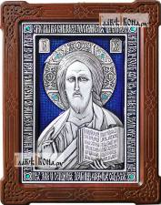 Серебряная икона Спасителя со стразами и эмалью, артикул 13179