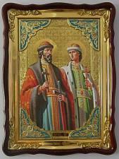 Святые Борис и Глеб (поясные), икона храмовая