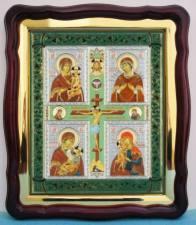 Четырехчастная Божия Матерь, аналойная икона (43 х 50 см)