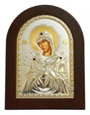 Семистрельная Божия Матерь, икона в посеребренном окладе