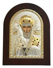 Святитель Николай Чудотворец, икона в посеребренном окладе