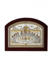 Тайная Вечеря, икона в посеребренном окладе (производство Греции)