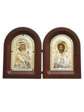Владимирская Б.М. и Спаситель - диптих, складень с посеребренными иконами