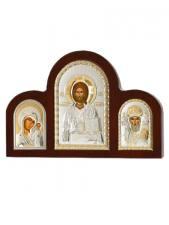 Казанская, Спаситель, Николай - триптих из посеребренных икон