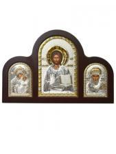 Вифлеемкая Б.М., Спаситель, свт. Николай - триптих из посеребренных икон