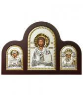 Семистрельная Б.М., Спаситель, свт. Николай - триптих из посеребренных икон